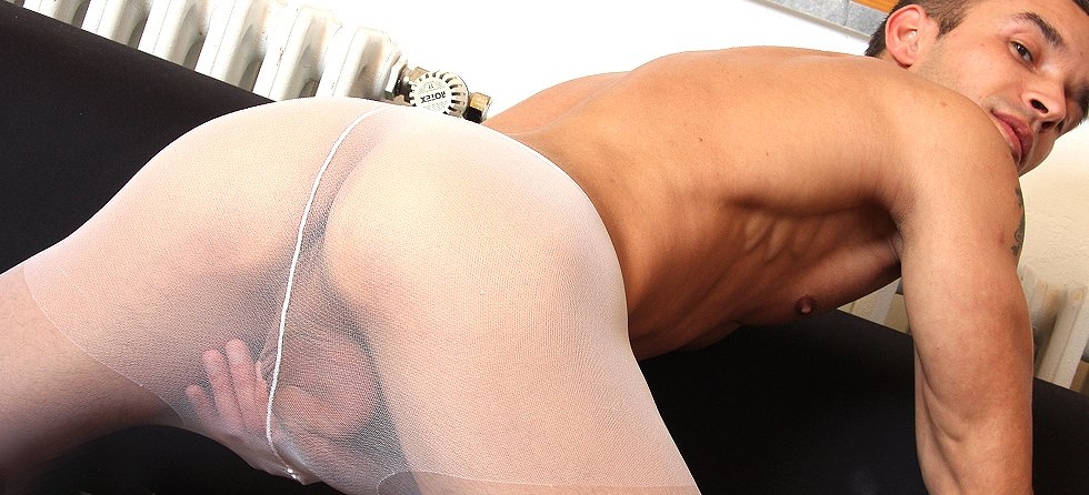 Filthy gay in nylon pantyhose